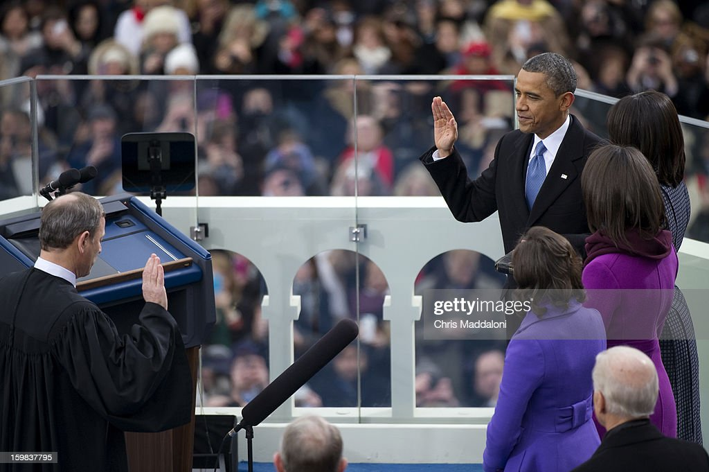 U.S. President Barack Obama is sworn-in at the inauguration for his second term of office.