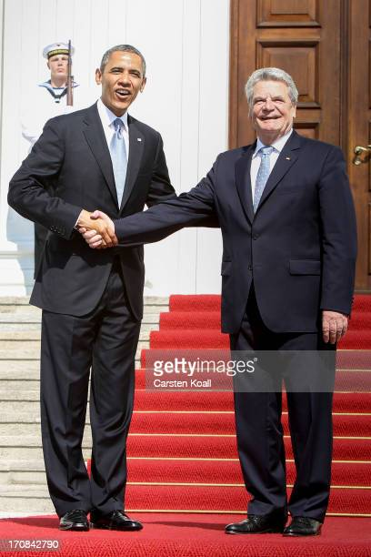 S President Barack Obama is welcomed by German President Joachim Gauck at Bellevue Palace on June 19 2013 in Berlin Germany Obama is visiting Berlin...