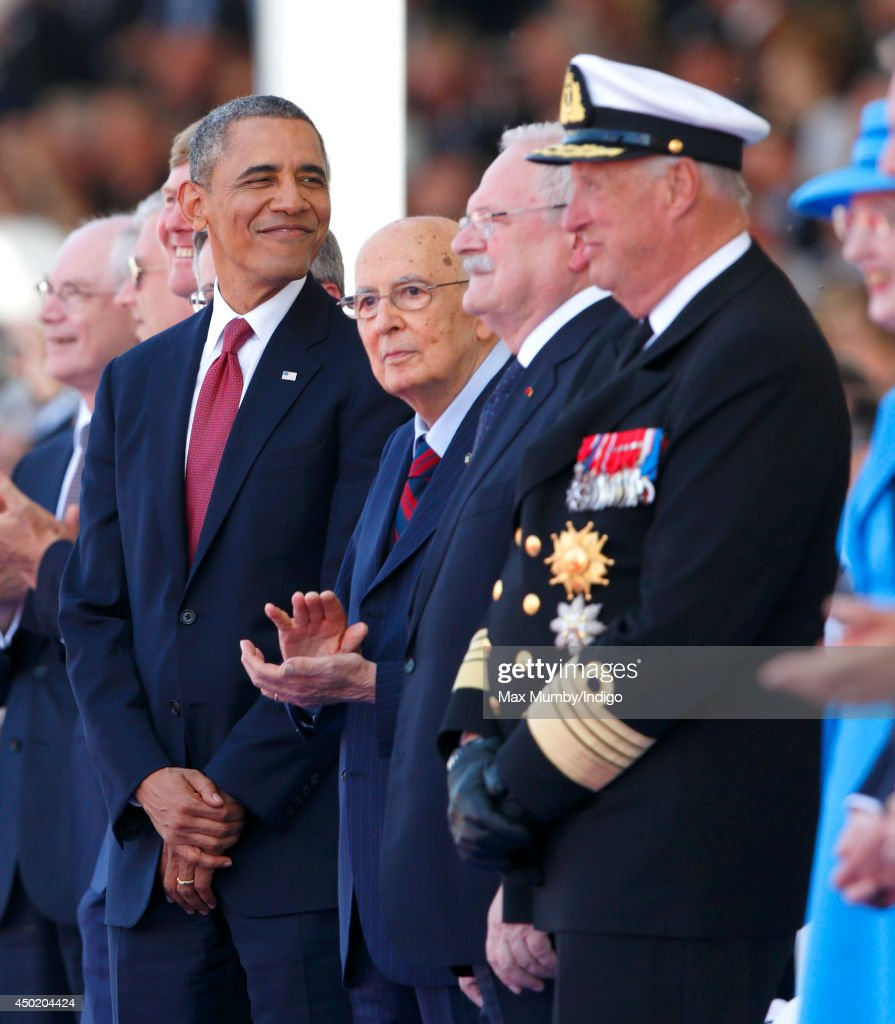 U.S. President Barack Obama, Italian President Giorgio Napolitano, President of Slovakia Ivan Gasparovic and King Harald of Norway attend the International Ceremony at Sword Beach to commemorate the 70th anniversary of the D-Day landings on June 6, 2014 in Ouistreham, France. Friday 6th June is the 70th anniversary of the D-Day landings which saw 156,000 troops from the allied countries including the United Kingdom and the United States join forces to launch an audacious attack on the beaches of Normandy, these assaults are credited with the eventual defeat of Nazi Germany. A series of events commemorating the 70th anniversary are planned for the week with many heads of state travelling to the famous beaches to pay their respects to those who lost their lives.