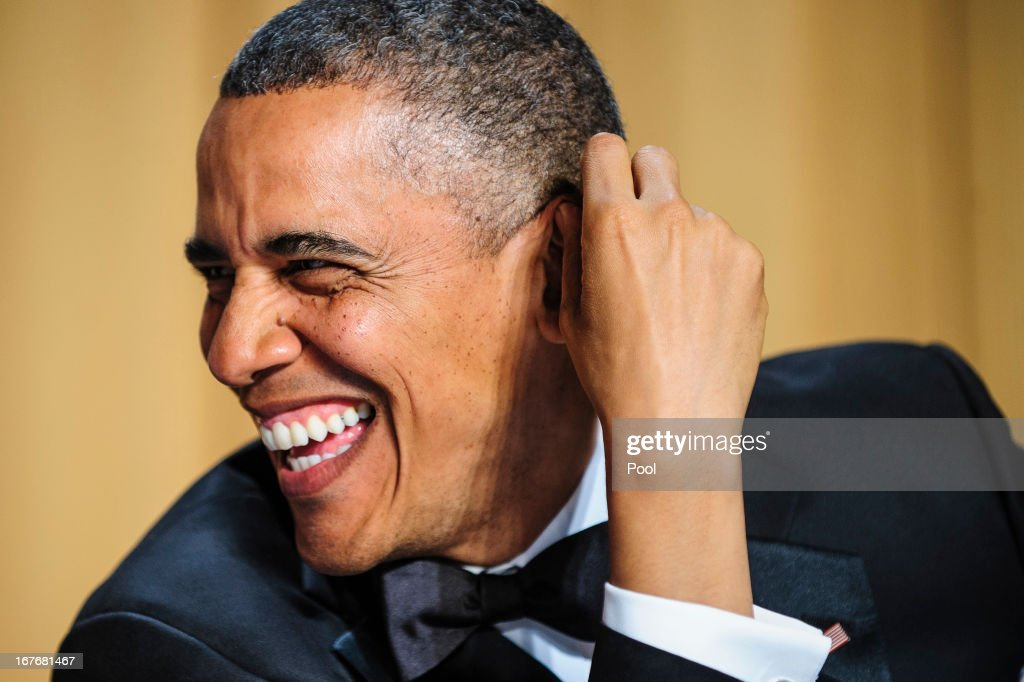 President <a gi-track='captionPersonalityLinkClicked' href=/galleries/search?phrase=Barack+Obama&family=editorial&specificpeople=203260 ng-click='$event.stopPropagation()'>Barack Obama</a> jokes around before the start of the White House Correspondents' Association Dinner on April 27, 2013 in Washington, DC. The dinner is an annual event attended by journalists, politicians and celebrities.