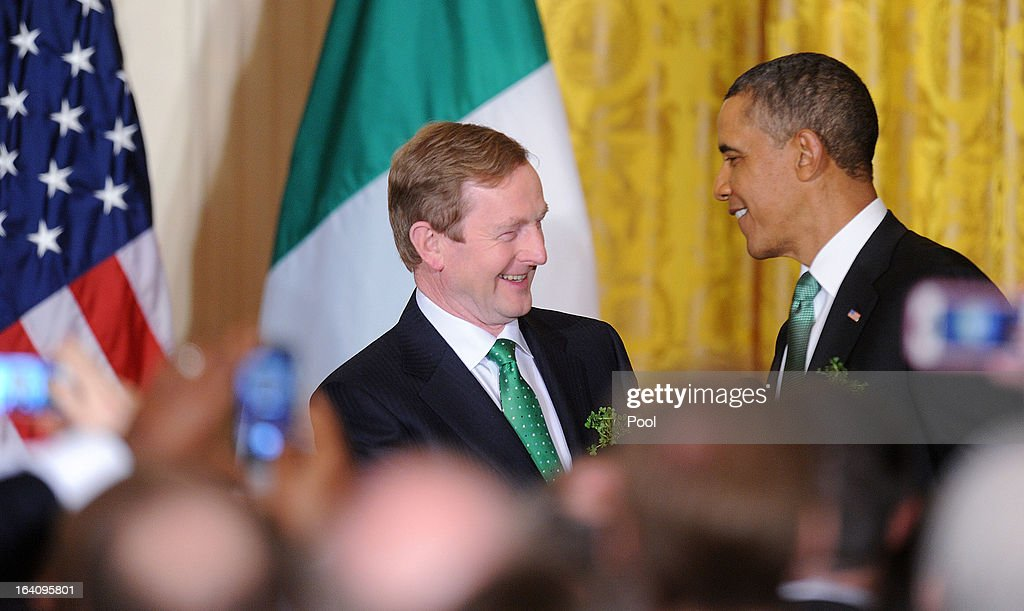 U.S. President <a gi-track='captionPersonalityLinkClicked' href=/galleries/search?phrase=Barack+Obama&family=editorial&specificpeople=203260 ng-click='$event.stopPropagation()'>Barack Obama</a> jokes with Irish Prime Minister Enda Kenny during a reception in the East Room of the White House on March 19, 2013 in Washington, DC. President Obama met with Irish Prime Minister Enda Kenny prior to the annual St. Patrick's Day lunch hosted at the Capitol.