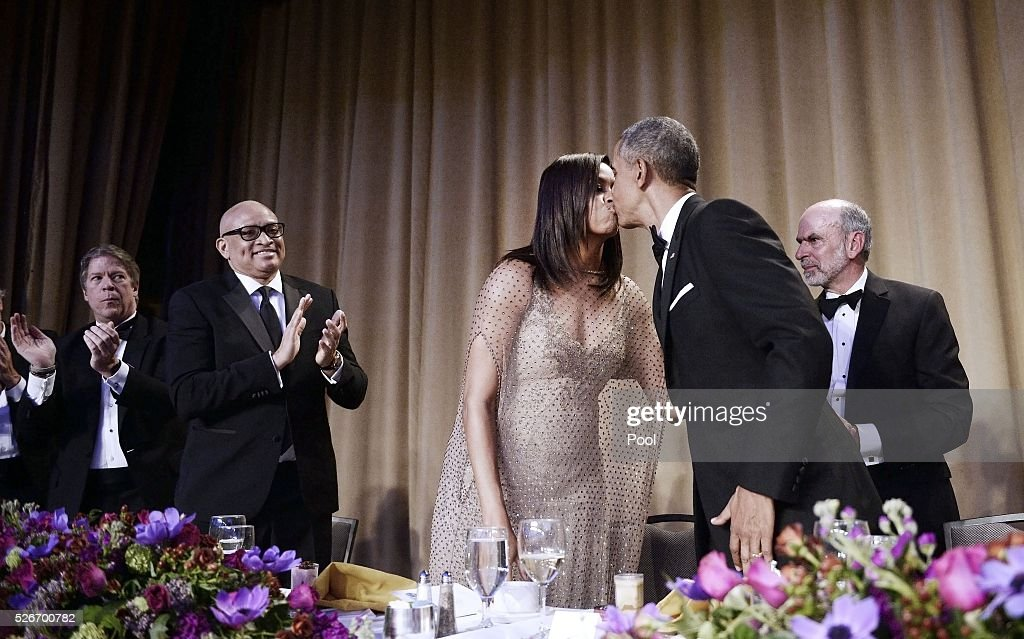 President Barack Obama kisses First Lady Michelle Obama after speaking at the White House Correspondents' Association annual dinner on April 30, 2016 at the Washington Hilton hotel in Washington, DC. This is President Obama's eighth and final White House Correspondents' Association dinner