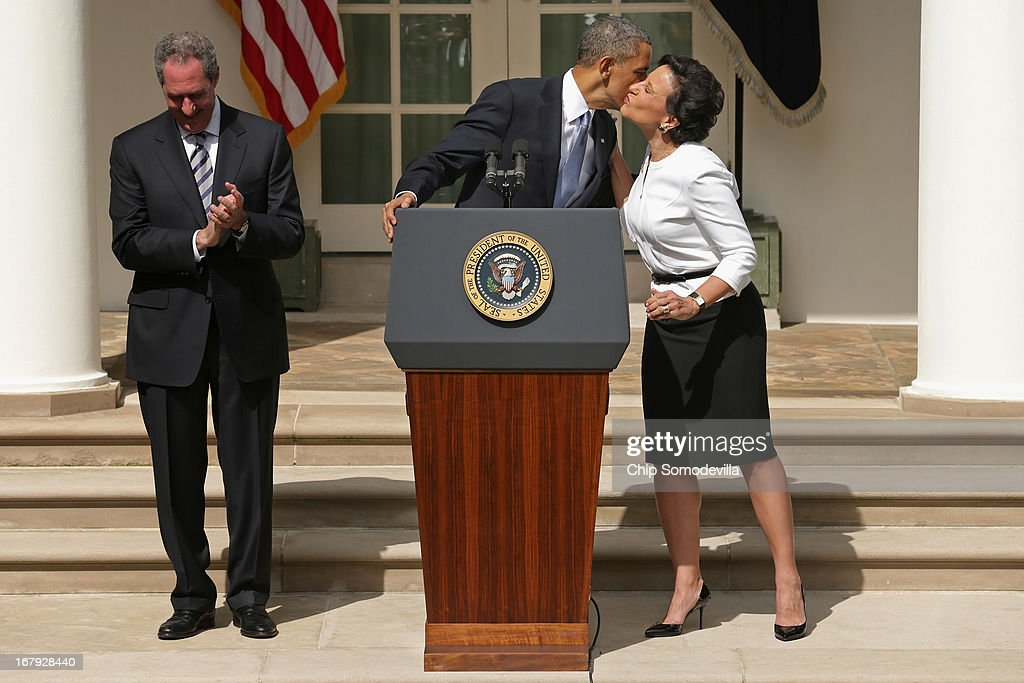 U.S. President <a gi-track='captionPersonalityLinkClicked' href=/galleries/search?phrase=Barack+Obama&family=editorial&specificpeople=203260 ng-click='$event.stopPropagation()'>Barack Obama</a> kisses nominee for Commerce Secretary, Chicago business executive Penny Pritzker, after wishing her a happy birthday, as his nominee for trade representative, economic adviser Mike Froman, looks on in the Rose Garden at the White House May 2, 2013 in Washington, DC. If approved by the Senate, the two appointments will round out the administration's economic team for Obama's second term.