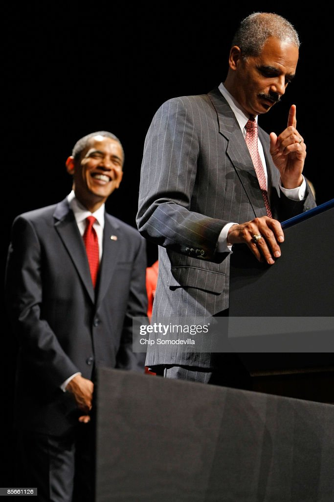 President Obama Speaks At Installation Ceremony For Attorney Gen. Holder