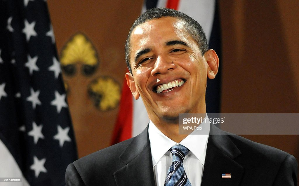 President Barack Obama laughs during a press conference with Britain's Prime Minister Gordon Brown and at the Foreign and Commonwealth Office on...
