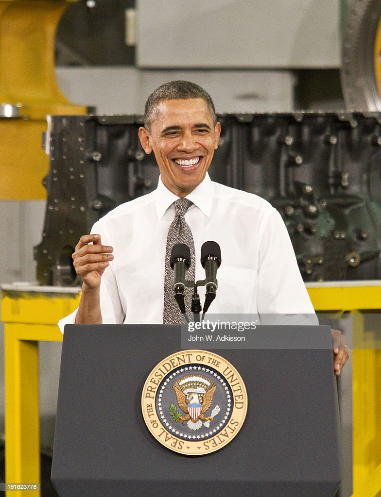 U.S. President <a gi-track='captionPersonalityLinkClicked' href=/galleries/search?phrase=Barack+Obama&family=editorial&specificpeople=203260 ng-click='$event.stopPropagation()'>Barack Obama</a> laughs while delivering remarks on the economy at Linamar Corporation on February 13, 2013 in Arden, North Carolina. President Obama delivered the remarks at the North Carolina auto components manufacturing plant following his State of the Union speech on Tuesday.