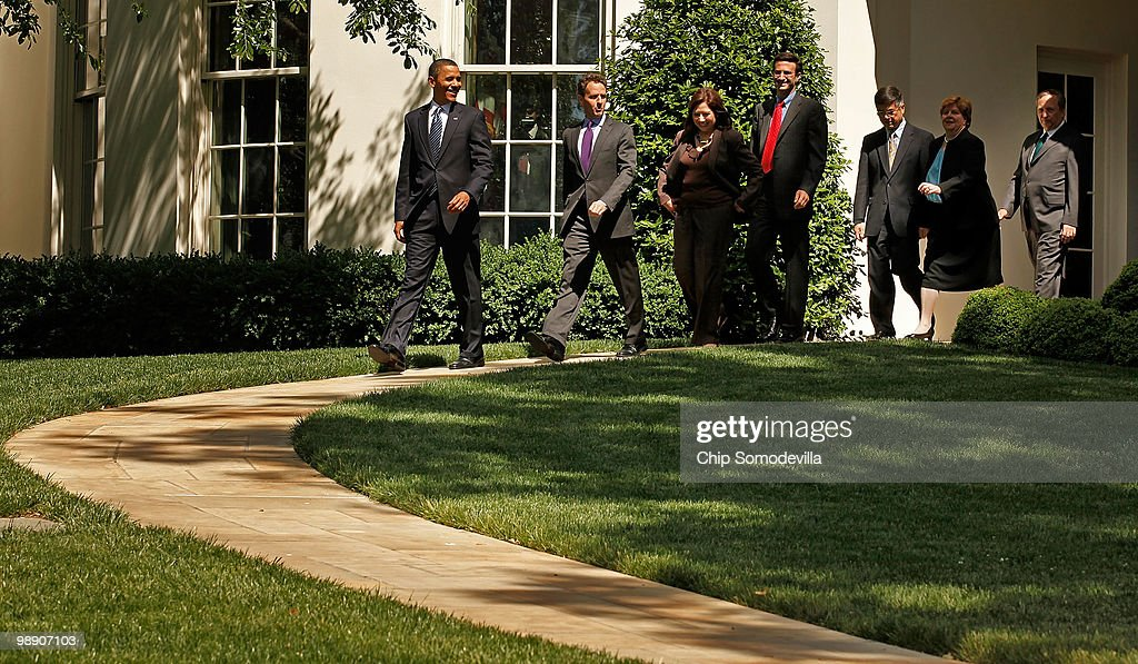 S President Barack Obama leads members of his economics team Treasury Secretary Timothy Geithner Labor Secretary Hilda Solis Office of Management and...