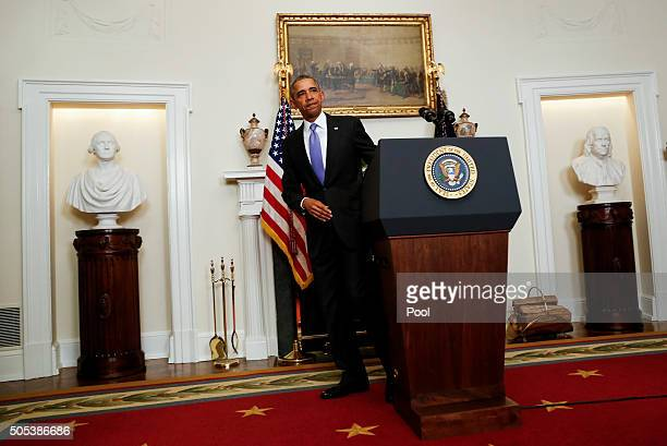 US President Barack Obama leaves after he delivered a statement on the relations between US and Iran including the release of the US hostages that...