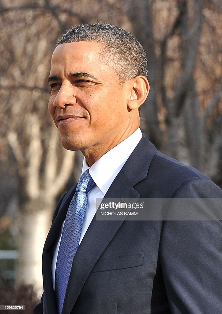 US President Barack Obama leaves St. John's Church on January 21, 2013 in Washington, DC, hours before Obama participates in a ceremonial swearing in for a second term in office. AFP PHOTO/Nicholas KAMM