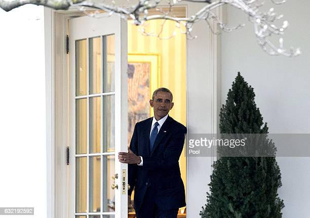 President Barack Obama leaves the Oval Office for the last time as President in Washington DC on January 20 2017 Later today PresidentElect Donald...