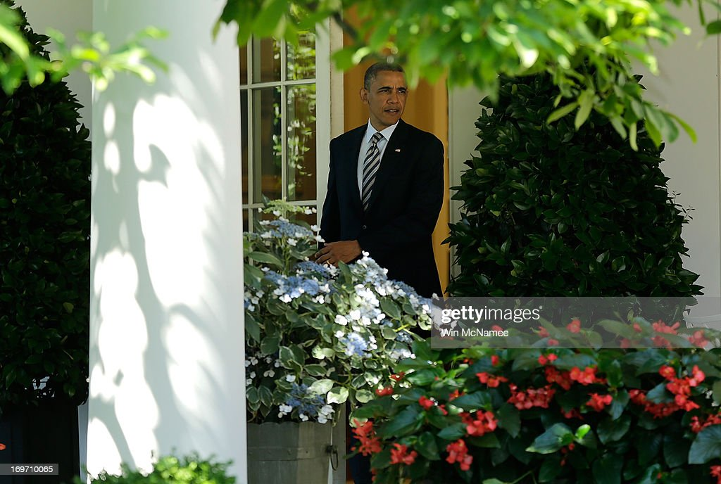 U.S. President <a gi-track='captionPersonalityLinkClicked' href=/galleries/search?phrase=Barack+Obama&family=editorial&specificpeople=203260 ng-click='$event.stopPropagation()'>Barack Obama</a> leaves the Oval Office to make a statement on student loans in the Rose Garden of the White House May 31, 2013 in Washington, DC. Obama made existing student loan programs an issue during his campaign last year while visiting many college campuses across the U.S..