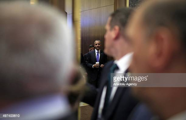 President Barack Obama leaves the press room following a press conference on day two of the G20 Turkey Leaders Summit on November 16 2015 in Antalya...