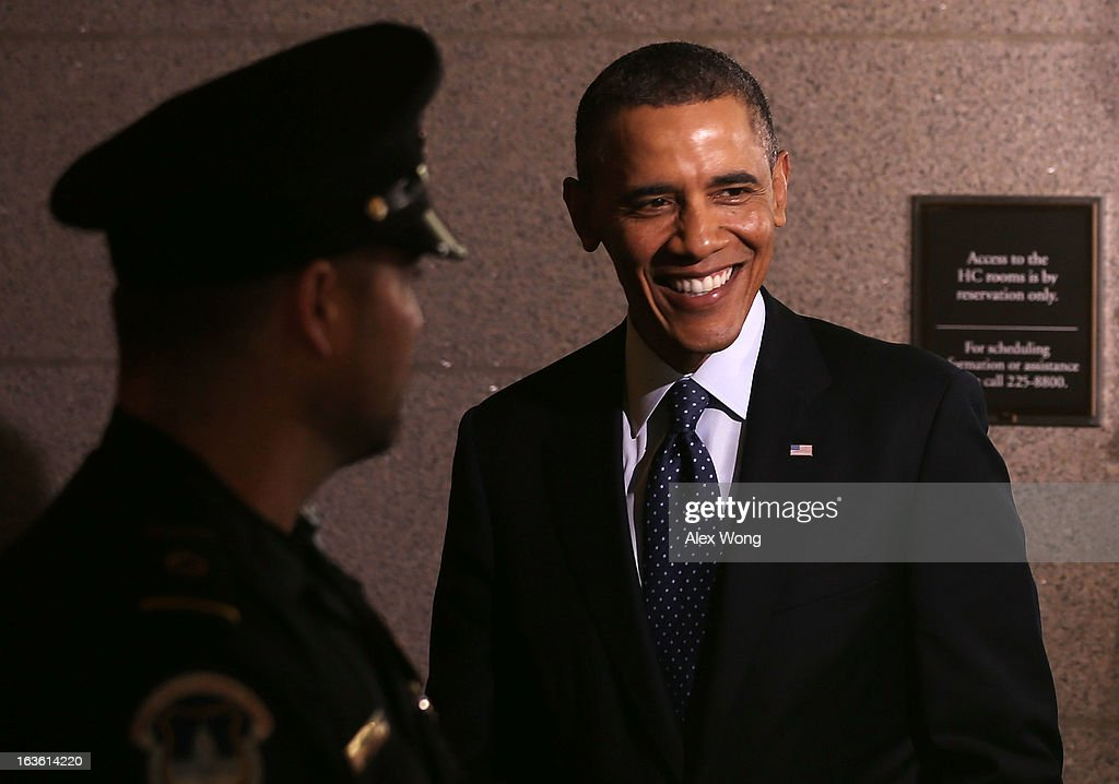 U.S. President <a gi-track='captionPersonalityLinkClicked' href=/galleries/search?phrase=Barack+Obama&family=editorial&specificpeople=203260 ng-click='$event.stopPropagation()'>Barack Obama</a> leaves the U.S. Capitol after a meeting with the House Republican Conference March 13, 2013 on Capitol Hill in Washington, DC. President traveled to the Hill to meet with Republican House members in a closed meeting.