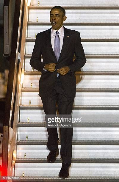 S President Barack Obama leaves US presidential plane Air Force One as it landed at Stansted Airport during his official visit in London England...