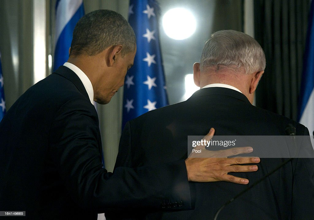 U.S. President Barack Obama (L) leaves with Israeli Prime Minister Benjamin Netanyahu following a press conference on March 20, 2013 in Jerusalem, Israel. This is Obama's first visit as President to the region, and his itinerary will include meetings with the Palestinian and Israeli leaders as well as a visit to the Church of the Nativity in Bethlehem.