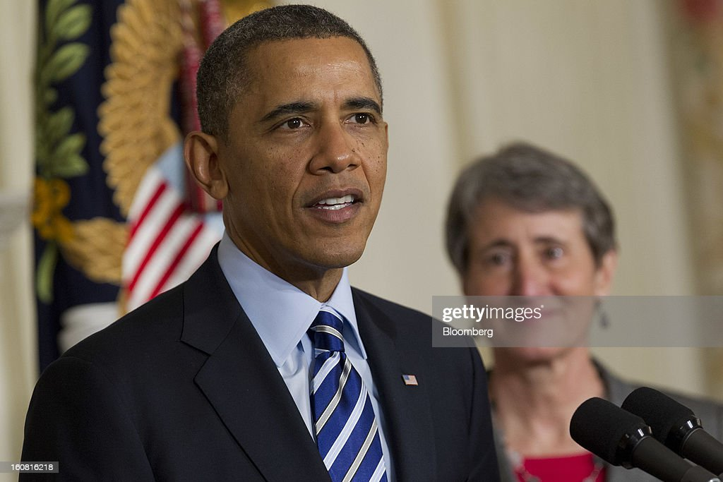 U.S. President <a gi-track='captionPersonalityLinkClicked' href=/galleries/search?phrase=Barack+Obama&family=editorial&specificpeople=203260 ng-click='$event.stopPropagation()'>Barack Obama</a>, left, announces Sally Jewell, chief executive officer of Recreational Equipment Inc., as his nominee to become secretary of the U.S. Interior Department at the White House in Washington, D.C., U.S., on Wednesday, Feb. 6, 2013. Jewell's background as an engineer and experience in the banking, energy and retail industries give her the skills needed to manage a department that oversees 500 million acres of public land, Obama said. Photographer: Andrew Harrer/Bloomberg via Getty Images