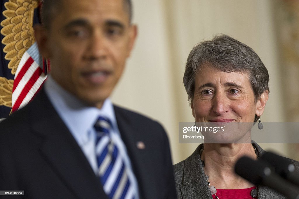 U.S. President <a gi-track='captionPersonalityLinkClicked' href=/galleries/search?phrase=Barack+Obama&family=editorial&specificpeople=203260 ng-click='$event.stopPropagation()'>Barack Obama</a>, left, announces Sally Jewell, chief executive officer of Recreational Equipment Inc., as his nominee to become secretary of the U.S. Interior Department at the White House in Washington, D.C., U.S., on Wednesday, Feb. 6, 2013. JewellÕs background as an engineer and experience in the banking, energy and retail industries give her the skills needed to manage a department that oversees 500 million acres of public land, Obama said. Photographer: Andrew Harrer/Bloomberg via Getty Images