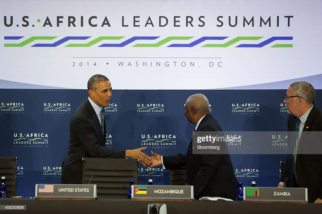 U.S. President <a gi-track='captionPersonalityLinkClicked' href=/galleries/search?phrase=Barack+Obama&family=editorial&specificpeople=203260 ng-click='$event.stopPropagation()'>Barack Obama</a> left, shakes hands with <a gi-track='captionPersonalityLinkClicked' href=/galleries/search?phrase=Armando+Guebuza&family=editorial&specificpeople=569903 ng-click='$event.stopPropagation()'>Armando Guebuza</a>, president of Mozambique, as they arrive for a session entitled 'Investing in Africa's Future' at the U.S.-Africa Leaders Summit at the State Department in Washington, D.C., U.S., on Wednesday, Aug. 6, 2014. Obama said Africa represents a great opportunity for American companies to expand their investments, as the U.S. competes with China to tap some of the worlds fastest growing economies. Photographer: Drew Angerer/Bloomberg via Getty Images