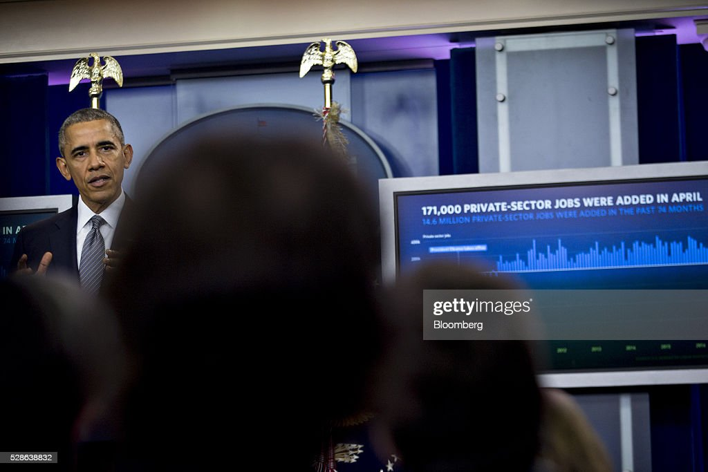 U.S. President Barack Obama, left, speaks in the Brady Press Briefing Room of the White House in Washington, D.C., U.S., on Friday, May 6, 2016. The Labor Department on Friday said that U.S. employers added the fewest jobs in seven months in April amid subdued economic growth. Obama considers the economic recovery since he became president in 2009 to be the central achievement of his presidency. Photographer: Andrew Harrer/Bloomberg via Getty Images