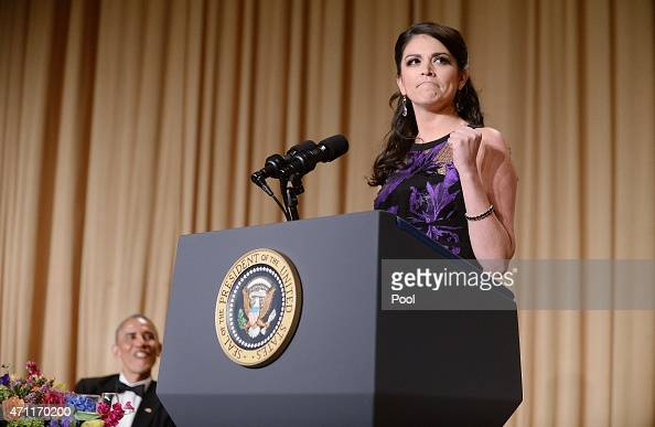 President Barack Obama listens as comedienne Cecily Strong of the Saturday Night Live show speaks at the annual White House Correspondent's...