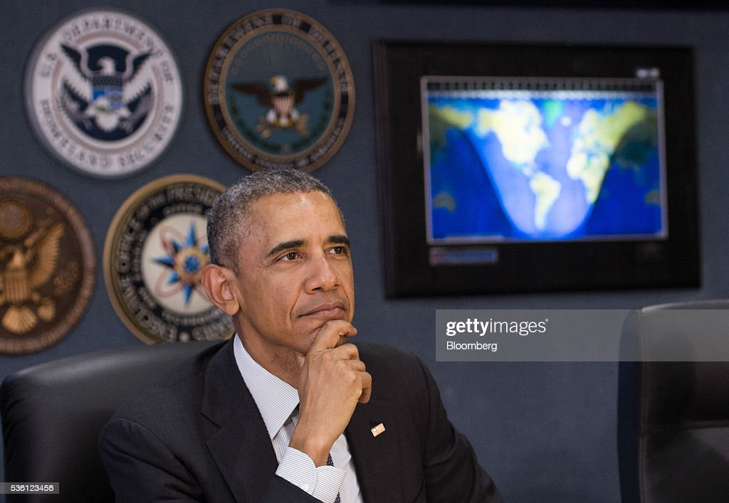 U.S. President <a gi-track='captionPersonalityLinkClicked' href=/galleries/search?phrase=Barack+Obama&family=editorial&specificpeople=203260 ng-click='$event.stopPropagation()'>Barack Obama</a> listens as he receives a briefing on the upcoming hurricane season at the Federal Emergency Management Association (FEMA) headquarters in Washington, D.C., U.S., on Tuesday, May 31, 2016. Obama received an update on government preparedness ahead of the hurricane season which opens tomorrow. Photographer: Kevin Dietsch/Pool via Bloomberg