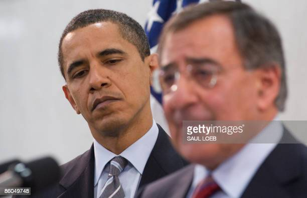 US President Barack Obama listens to his introduction by Leon Panetta director of the Central Intelligence Agency prior to speaking to employees...