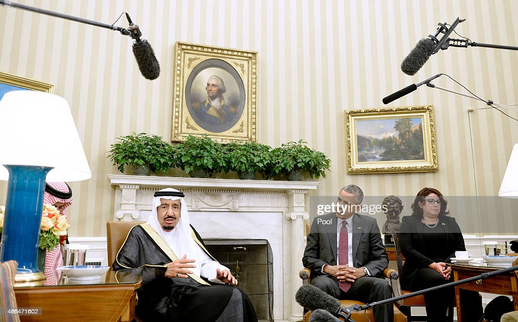 U.S. President <a gi-track='captionPersonalityLinkClicked' href=/galleries/search?phrase=Barack+Obama&family=editorial&specificpeople=203260 ng-click='$event.stopPropagation()'>Barack Obama</a> looks on as King Salman bin Abd alAziz of Saudi Arabia speaks during a bilateral meeting in the Oval Office of the White House September 4, 2015 in Washington, D.C. The President and the King were expected to discuss various issues including joint security and counter-terrorism efforts