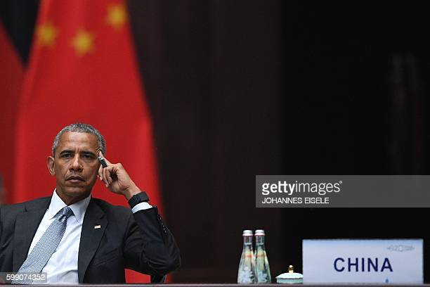 President Barack Obama looks on during the G20 Summit in Hangzhou on September 4 2016 World leaders are gathering in Hangzhou for the 11th G20...