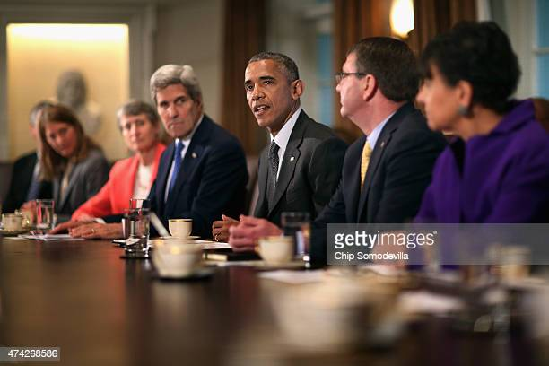 US President Barack Obama makes a brief statment to the news media during a meeting with his cabinet with Health and Human Services Secretary Sylvia...