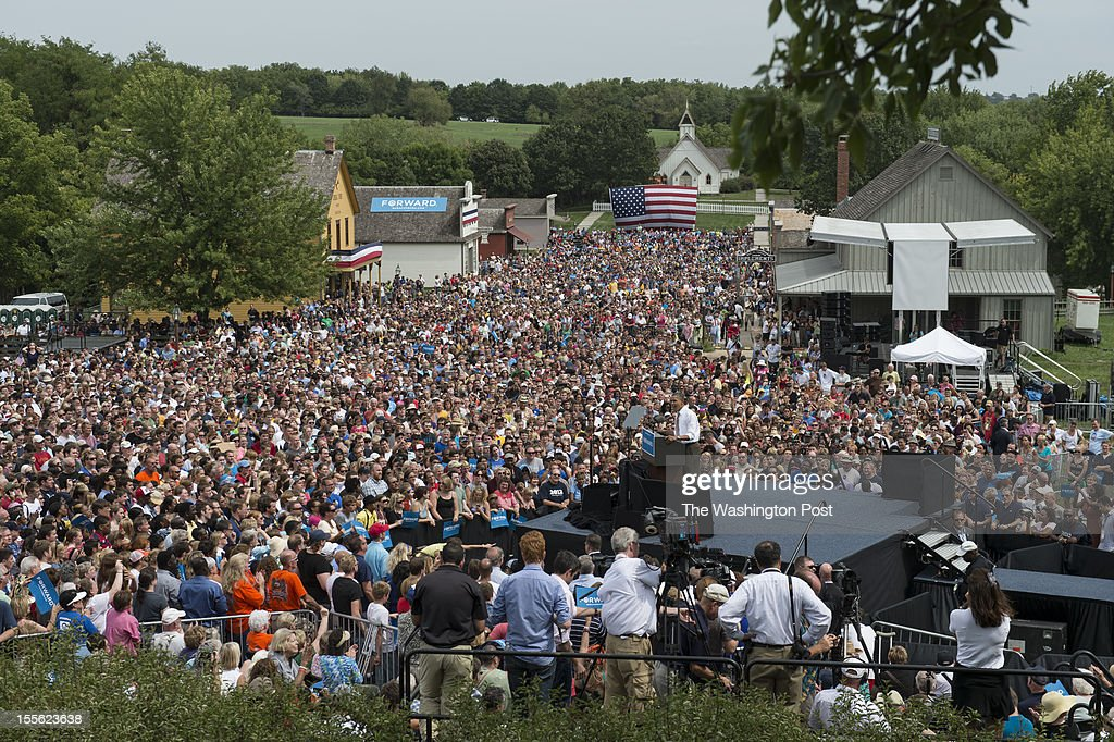 President Barack Obama makes a campaign stop at Living History Farms in Urbandale, Iowa, on Saturday, September 1, 2012. The President has made 7 trips to the state since the beginning of the year.