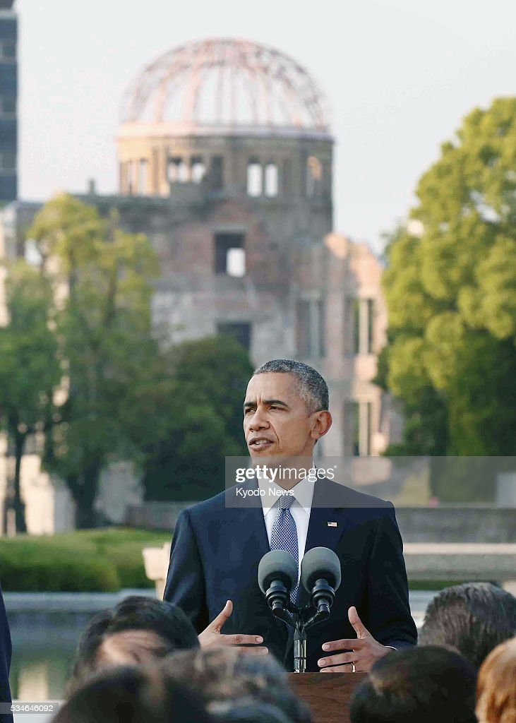 US President Barack Obama makes a speech at the Peace Memorial Park in Hiroshima on May 27 talking of the need to pursue a world without nuclear...