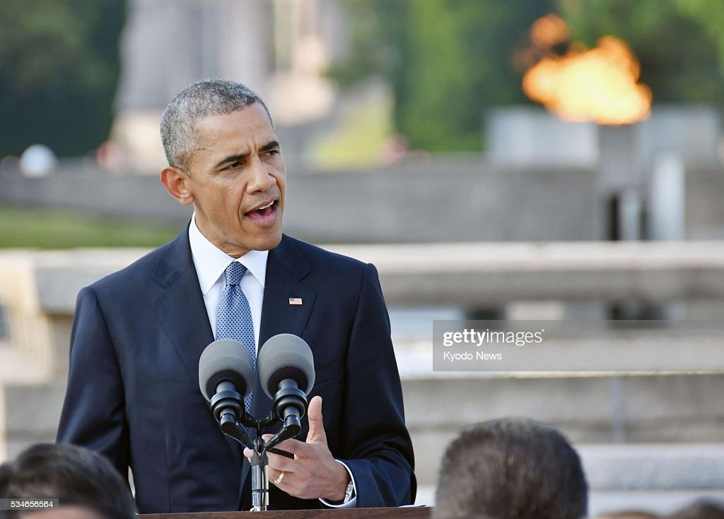 U.S. President <a gi-track='captionPersonalityLinkClicked' href=/galleries/search?phrase=Barack+Obama&family=editorial&specificpeople=203260 ng-click='$event.stopPropagation()'>Barack Obama</a> makes a speech at the Peace Memorial Park in Hiroshima on May 27, 2016. Obama became the first sitting U.S. president to visit the atomic-bombed city that day.