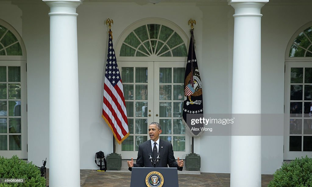 U.S. President <a gi-track='captionPersonalityLinkClicked' href=/galleries/search?phrase=Barack+Obama&family=editorial&specificpeople=203260 ng-click='$event.stopPropagation()'>Barack Obama</a> makes a statement about military troop pullout from Afghanistan at the Rose Garden of the White House on May 27, 2014 in Washington, DC. The administration's plan is to keep a contingency force of 9,800 U.S. troops in Afghanistan beyond 2014, consolidating them in Kabul and on Bagram Air Base.
