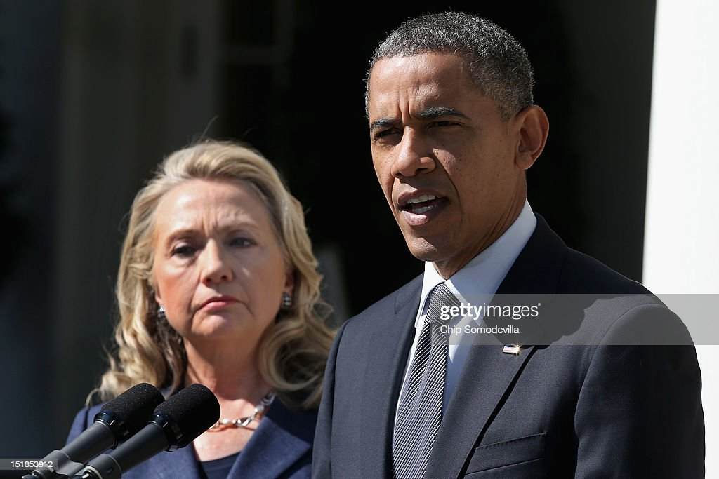 S President Barack Obama makes a statement about the death of US ambassador to Libya J Christopher Stevens with Secretary of State Hillary Clinton in...