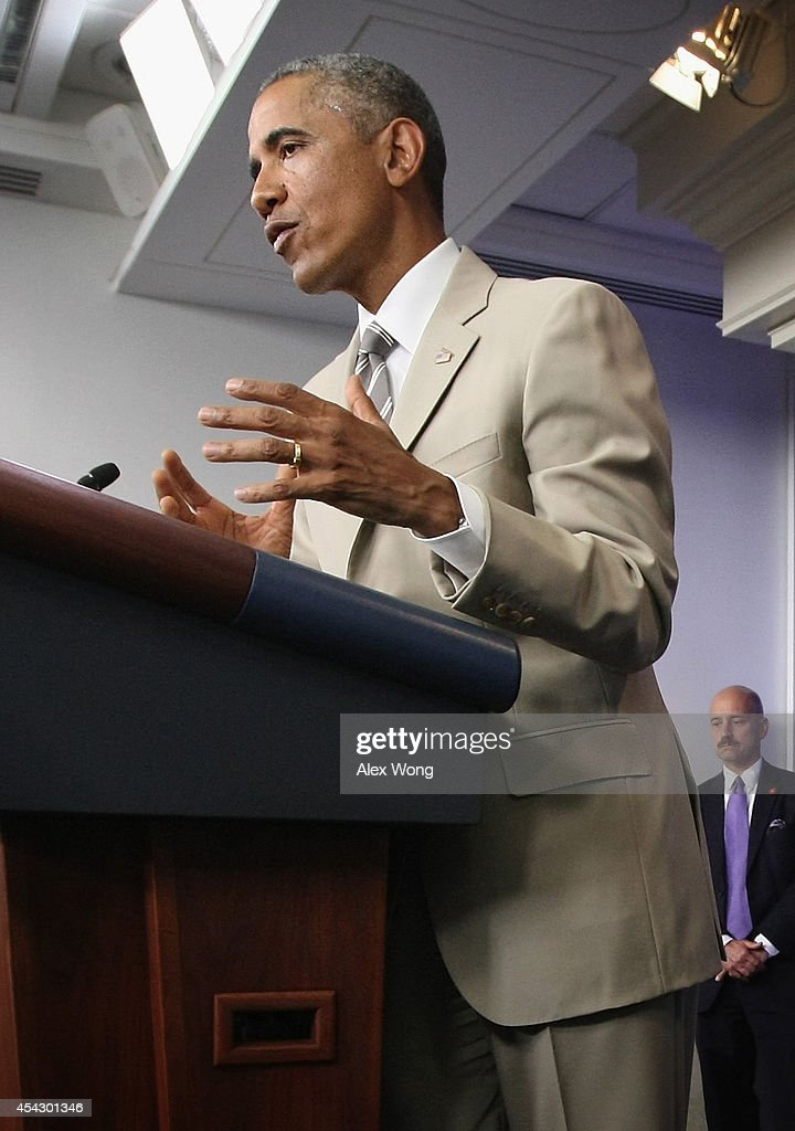 S President Barack Obama makes a statement at the James Brady Press Briefing Room of the White House August 28 2014 in Washington DC President Obama...