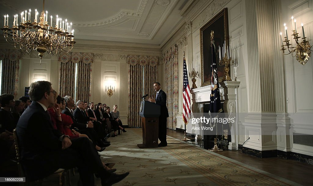U.S. President <a gi-track='captionPersonalityLinkClicked' href=/galleries/search?phrase=Barack+Obama&family=editorial&specificpeople=203260 ng-click='$event.stopPropagation()'>Barack Obama</a> makes a statement at the State Dining Room of the White House October 17, 2013 in Washington, DC. Obama said the American people are completely fed up with Washington and called on cooperation to work things out.