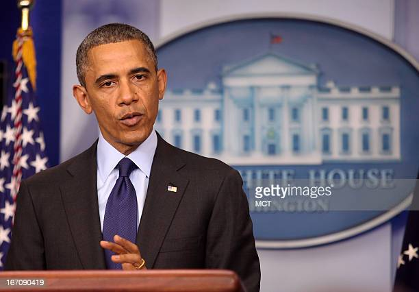 President Barack Obama makes a statement from the White House in Washington DC on the capture of the second suspect in the Boston Marathon bombing...