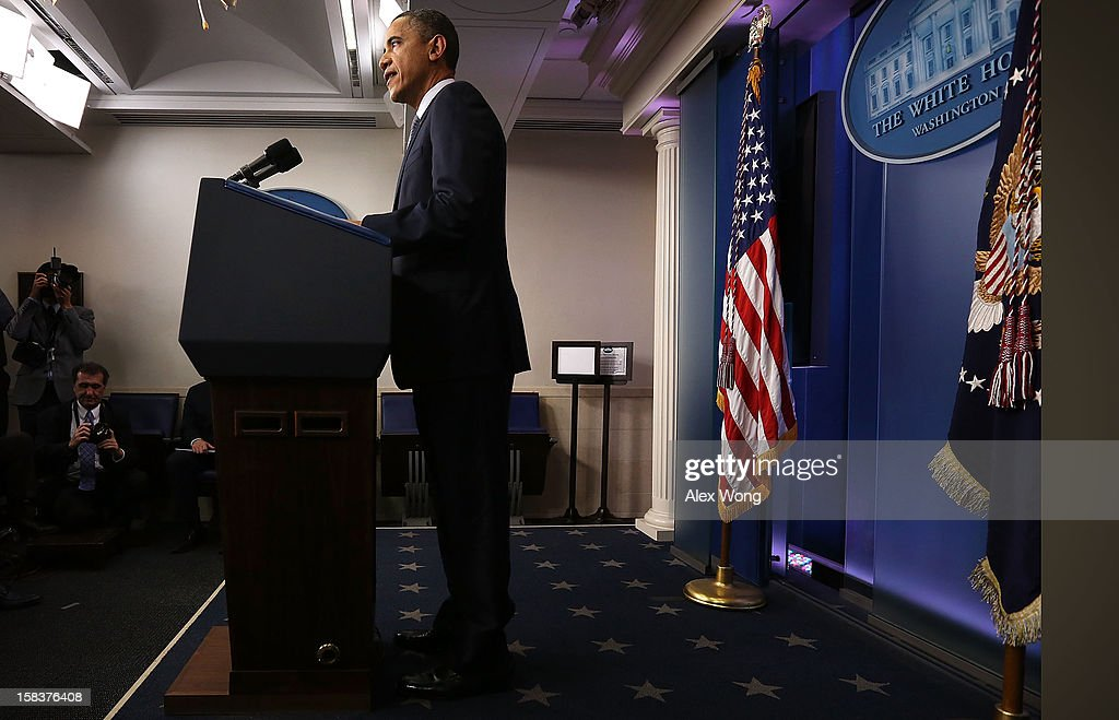U.S. President <a gi-track='captionPersonalityLinkClicked' href=/galleries/search?phrase=Barack+Obama&family=editorial&specificpeople=203260 ng-click='$event.stopPropagation()'>Barack Obama</a> makes a statement in response to the elementary school shooting in Connecticut December 14, 2012 at the White House in Washington, DC. A teacher's son killed 18 children and seven adults including his mother, in the second serious school shooting in the nation, at Sandy Hook Elementary School in Newtown, Connecticut.