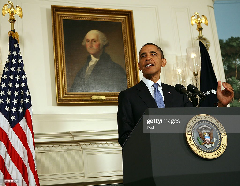 US President Barack Obama makes a statement in the Diplomatic Reception Room of the White House July 29 2011 in Washington DC Obama spoke about...