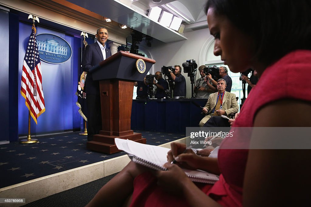 U.S. President <a gi-track='captionPersonalityLinkClicked' href=/galleries/search?phrase=Barack+Obama&family=editorial&specificpeople=203260 ng-click='$event.stopPropagation()'>Barack Obama</a> makes a statement in the James Brady Press Briefing Room of the White House August 18, 2014 in Washington, DC. Obama returned early from his vacation in Martha's Vineyard to hold meetings with his national security team and also with U.S. Attorney General Eric Holder in regards to the situation in Iraq and the continuing violence in Ferguson, Missouri.