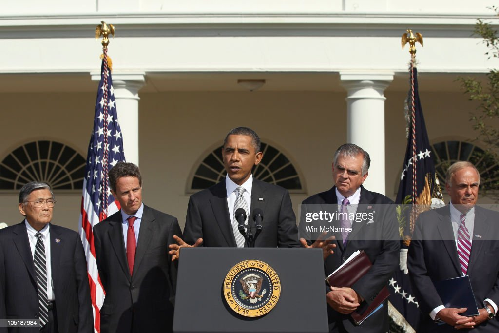 U.S. President <a gi-track='captionPersonalityLinkClicked' href=/galleries/search?phrase=Barack+Obama&family=editorial&specificpeople=203260 ng-click='$event.stopPropagation()'>Barack Obama</a> makes a statement in the Rose Garden of the White House regarding support for infrastructure development October 11, 2010 in Washington, DC. Obama was joined by members of his administration and members of local governments around the nation including (L-R) former Secretary of Transportation <a gi-track='captionPersonalityLinkClicked' href=/galleries/search?phrase=Norman+Mineta&family=editorial&specificpeople=206949 ng-click='$event.stopPropagation()'>Norman Mineta</a>, Treasury Secretary <a gi-track='captionPersonalityLinkClicked' href=/galleries/search?phrase=Timothy+Geithner&family=editorial&specificpeople=5087853 ng-click='$event.stopPropagation()'>Timothy Geithner</a>, Transportation Secretary <a gi-track='captionPersonalityLinkClicked' href=/galleries/search?phrase=Ray+LaHood&family=editorial&specificpeople=598728 ng-click='$event.stopPropagation()'>Ray LaHood</a>, and Pennsylvania Governor <a gi-track='captionPersonalityLinkClicked' href=/galleries/search?phrase=Ed+Rendell&family=editorial&specificpeople=2445310 ng-click='$event.stopPropagation()'>Ed Rendell</a>.
