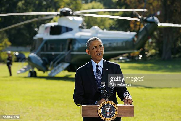 President Barack Obama makes a statement on recent US and allied airstrikes against the Islamic State in Syria from the White House South Lawn...