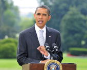 S President Barack Obama makes a statement on the economy and small businesses on the South Lawn of the White House August 19 2010 in Washington DC...