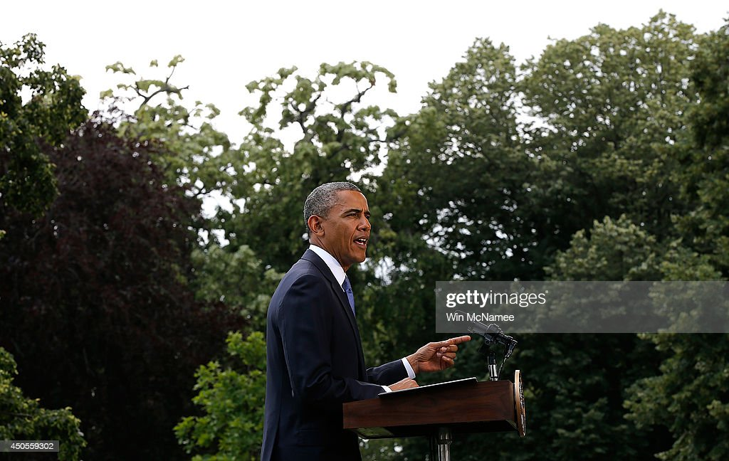 U.S. President <a gi-track='captionPersonalityLinkClicked' href=/galleries/search?phrase=Barack+Obama&family=editorial&specificpeople=203260 ng-click='$event.stopPropagation()'>Barack Obama</a> makes a statement on the situation in Iraq June 13, 2014 on the south lawn of the White House in Washington, DC. Obama said he will make a decision in the 'days ahead' about the use of American military power to aid the Iraqi government in its battle against Islamic insurgents.