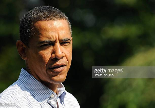 US President Barack Obama makes a statement over the death of US Sen Edward Kennedy at the Blue Heron Farm in Oak Bluffs on Martha's Vineyard...