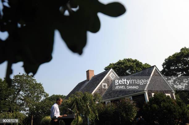 US President Barack Obama makes a statement over the death of US Senator Edward Kennedy at the Blue Heron Farm in Oak Bluffs on Martha's Vineyard...