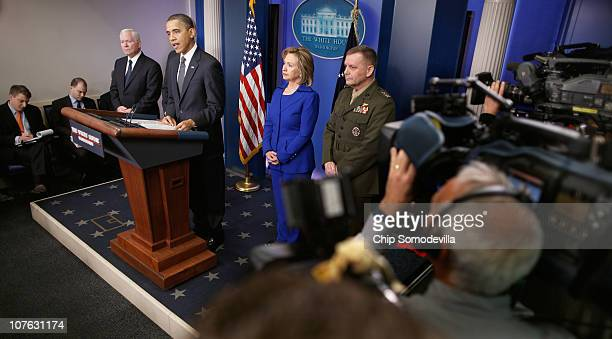 S President Barack Obama makes a statement to reporters about his administration's AfghanistanPakistan annual review with Press Secretary Robert...