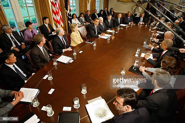 S President Barack Obama makes a statement to the news media after conducting his first cabinet meeting at the White House April 20 2009 in...