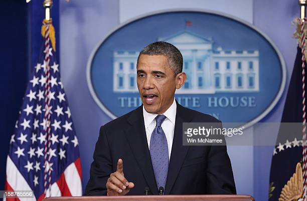 President Barack Obama makes a statement to the press in the Brady Press Briefing Room of the White House after meeting with Congressional leaders to...