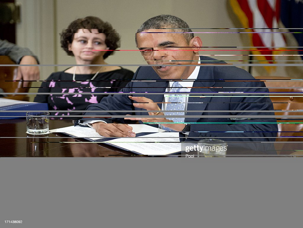 U.S. President <a gi-track='captionPersonalityLinkClicked' href=/galleries/search?phrase=Barack+Obama&family=editorial&specificpeople=203260 ng-click='$event.stopPropagation()'>Barack Obama</a> makes a statement to the press prior to meeting with CEOs, business owners, and entrepreneurs in the Roosevelt Room of the White House to discuss the importance of commonsense immigration reform June 24, 2013 in Washington, DC. Cecilia Muñoz, Director of the Domestic Policy Council, listens at left. Obama met with a collection of business leaders who immigrated to the United States and went on to found successful companies in order to gain support to overhaul the nations immigration system.
